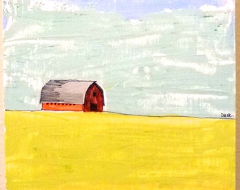 SOLD  Simple Prairie Landscape II (SERIES 2) original painting, red barn painting, painting of barn, lanscape painting