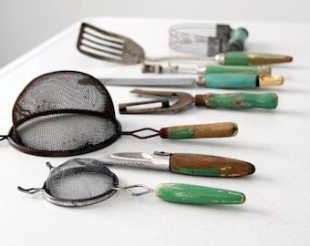 vintage kitchen utensil collection, green kitchen