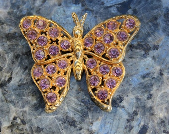 Rhinestone Butterfly Brooch Vintage