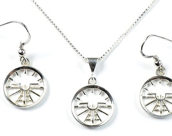 Aviation Attitude Indicator Small Sterling Silver Earrings Necklace Jewelry