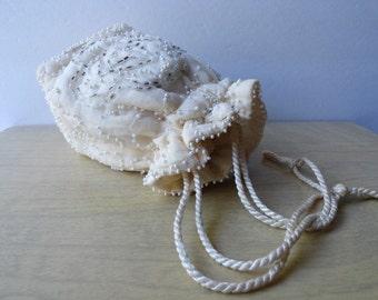 VINTAGE WEDDING| Farm Wedding Purse| Vintage Ivory Beaded Drawstring Evening Bag|Vintage Small Wedding Purse