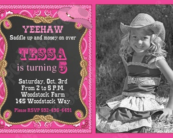 Cowgirl  Printable Birthday  Party Photo chalkboard Invitation #4  by Cupcake Express DIY pink brown western