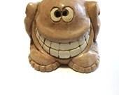 Vintage Clay Grinning Folk Art Frog