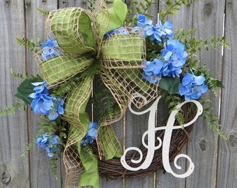 Hydrangea Wreath, Spring Monogram Wreath with Blue Hydrangeas, Burlap Mesh, Blue and Green Wreath, Wedding Decor