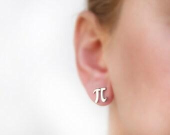 Pi earrings, math earring, Greece jewelry, titanium, math jewelry, tiny earring stud, nerd, initial, letter, titanium earring, geek earrings