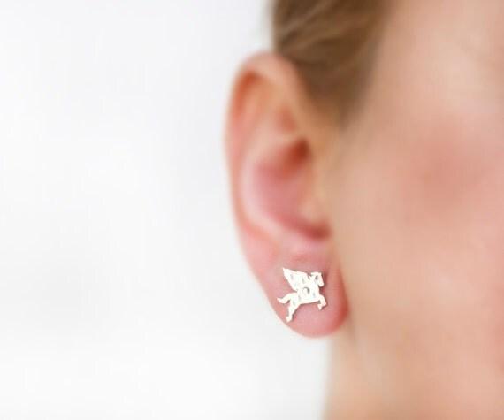 Pegasus earrings, titanium earrings, silver earrings, Greece jewelry, animal earring stud, tiny silver stud, fantasy, hammered, minimalist