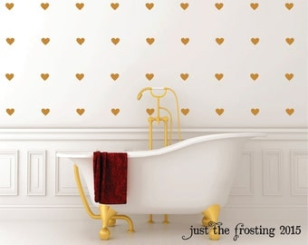Gold Decals Gold Heart Wall Decals Confetti Heart Decals - Vinyl decals for walls etsy