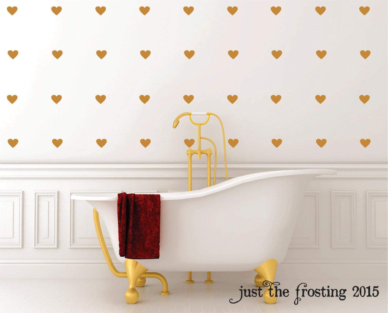 Gold Heart Wall Decals Set Gold Decals Heart Decals