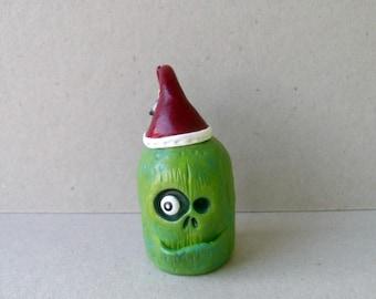 Zombie Figurine - Christmas Home Decor - Polymer Clay Sculpture - The Zombie Santa - OOAK