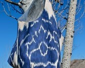 Silver Lining Tarot Bag w/ Indigo Ikat- (a broadcloth boho tote)
