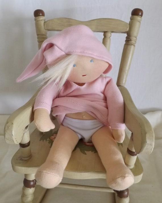 Baby Doll Soft Cloth Rag Doll Newborn Doll Waldorf inspired handcrafted, cotton fabric alpaca llama fiber shower gift, baby gift made in USA