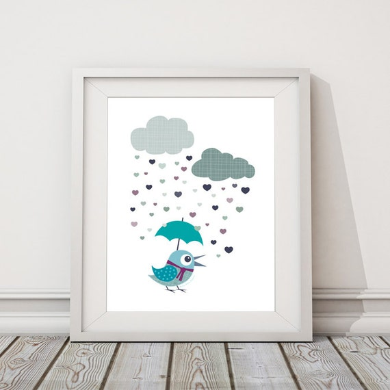 Baby Boy Blue Nursery Decor Birds Rainy Day By