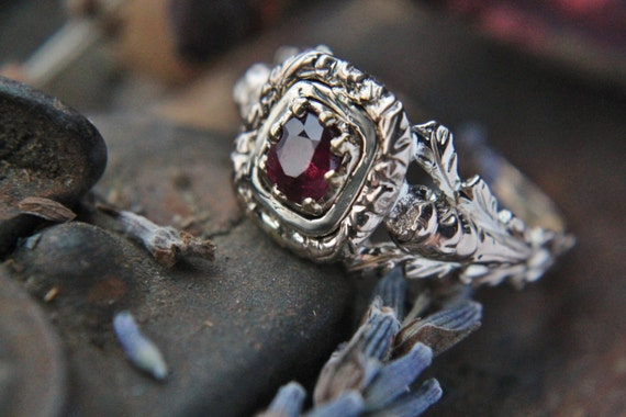 Antique Ruby Ring Georgian Engraved Scottish Thistle Ruby
