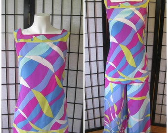 Vintage Emilio Pucci Rare Outfit Silk Tunic Top Pants 1960s 1970s Magenta Pink Aqua Blue Yellow White 30 32 XS S Blouse Wide Leg Palazzo