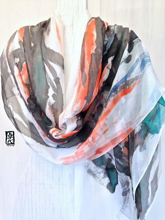 Hand Painted Silk Shawl Scarf, Japanese Elements, Earth, Water, Fire, Abstract Scarf, Silk Chiffon Wrap. Approx 21x85 inches.
