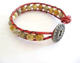 Moss Agate Wrap Bracelet, Leather Wrap Bracelet, Gemstone Wrap Bracelet, Natural Gemstone Wrap, Moss Agate Bracelet, Gemsalad Jewelry