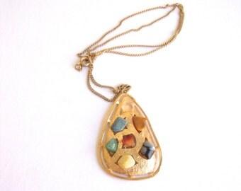 Vintage Stone Abstract Necklace: Semi Precious Mosaic vintage gold tone tear drop necklace
