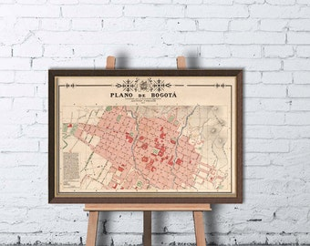 Map of Bogota -  Bogota map print - Vintage map reproduction