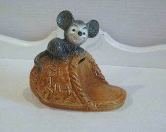 Vintage Bank - Mouse on a Slipper - Goebel - Germany - 1970's - Vintage Money Bank