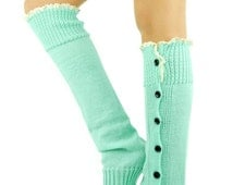 Mint Leg Warmers Knitted Socks Boot Toppers Women's Accessories lace trim socks button socks mint socks mint boot cuffs lace mint legwarmers