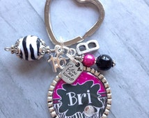 Sweet Sixteen Key Chain / Teen Birthday / First Car / 16th Birthday / Daughter / Granddaughter / Niece / Godchild / Initialed Key Chain //