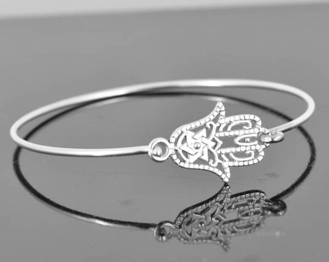 Hamsa Bangle, Sterling Silver Bangle, Hamsa Bracelet, Stackable Bangle, Charm Bangle, Bridesmaid Bangle, Bridesmaid jewelry, Bridal Bracelet