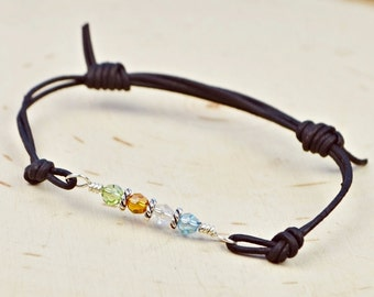 Any Custom Crystal Birthstones Leather Adjustable Bracelet- Sterling Silver Filled Wire Wrapped Personalized Bracelet-Brown or Black Leather