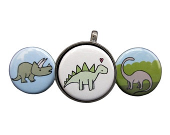Prehistoric Park Magnetic Necklace - Set of 3 Magnetic Dinosaur Pendants - Stegosaurus, Brontosaurus, Triceratops Necklaces