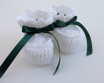 Baby Shoes White, Baby Booties Christmas, Baby Soft Shoes for Newborns