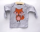 Baby fox long-sleeve top - heather grey, made with upcycled fabric applique - What does the fox say!