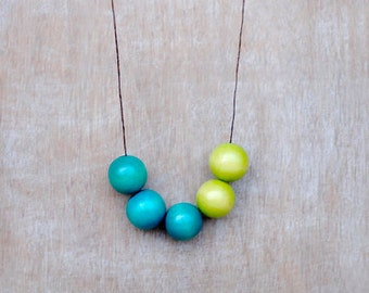 Green Wood Necklace, Geometric Necklace, Wooden Necklace