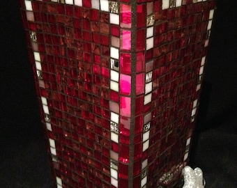 Red Glass Mosaic Vase