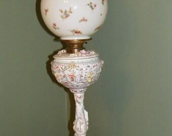 Victorian antique BANQUET LAMP Light Desk Lamp Roses Crown Staffordshire England Vase Bone china Porcelain flowers pink