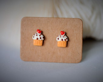 Sale -40% Off !! Delicious CUP-CAKE (Orange Cone) with Silver Stud Earrring ~ 7mm - Girls/Casual/Cutie