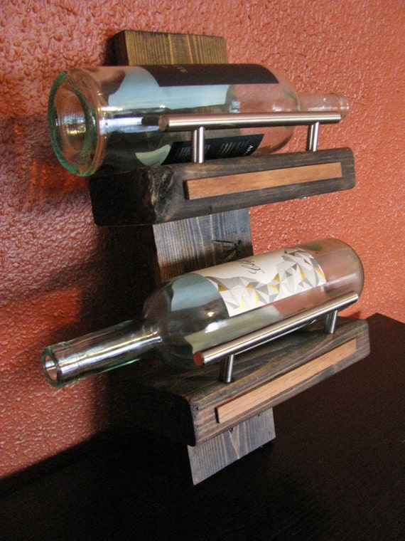 Wall mounted wine rack with stainless steel handle railings