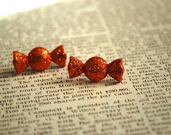 Candy Earrings -- Orange Candy Studs, Halloween Earrings, Glittery Orange Candy Earrings