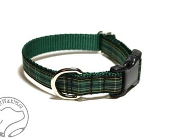 "Celtic Tartan Dog Collar - 3/4"" (19mm) wide - FC Plaid - your choice of size and style - Quick Release or Martingale Dog Collar"