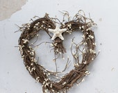 Heart wreath - wedding wreath - rustic decor - coastal decor - country wedding - beach wreath
