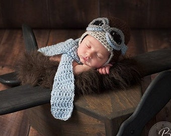 Newborn Aviator Hat, 3 Piece Set, Aviator, Goggles, Scarf, Brown, Blue, Gray, Baby, Boy, Newborn Photo Prop, Ready to Ship