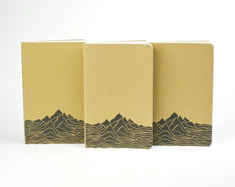 Mountain Range adventure journal. Small journal with inner pocket. 山 Mt. Notebook. Camping Journal