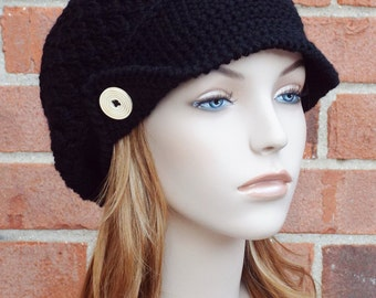 Ink Black Newsboy Hat - Womens Slouchy Newsboy Beanie Hat - Crochet Newsboy Hat with Buttons // THE FINLEY//