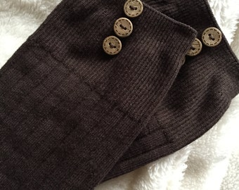 Brown Boot Socks : Wooden Buttons - Over the Knee Knit Socks