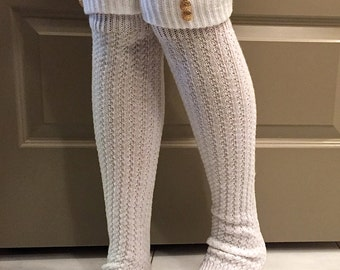 Leg Warmers : Cream Knit w/ Gold Vintage Inspired Buttons - Cream Boot Socks