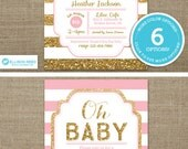 Gold Baby Shower Invitation - Pink and Gold Baby Shower Invitation - Gold Glitter invitation - Oh Baby - Girl Baby Shower - Printable invite
