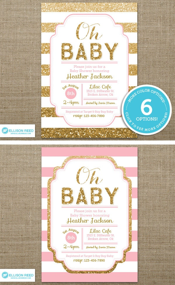 gold baby shower invitation pink and gold baby shower