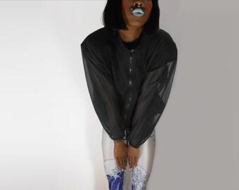 Sheer Blouse/ Sheer Black Blouse/ Goth Blouse/ Minimalist Top/ Black Mesh Shirt/ Minimalist Shirt/ See Through Shirt/ Mesh Shirt/ Goth Shirt