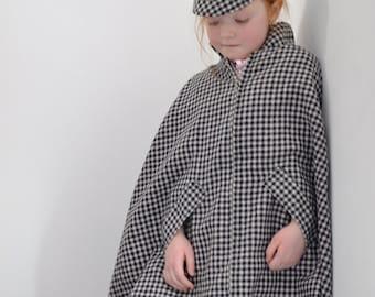 Girls Cape, Girls Vintage Cape & Hat, Vintage 60s Cape, Girls Winter Cape, Girls Cloak