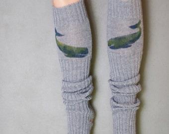 Whale / Yoga socks / dance socks / leg warmers / boot socks Grey very long hand painted Accessories Women Ocean clothing gift legwear