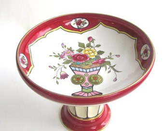 Antique Japanese Porcelain, Valentines, Early Takihashi, Dessert Compote, Footed Dish, Hand Painted, Porcelain 24KT Gold, Bridal Shower,