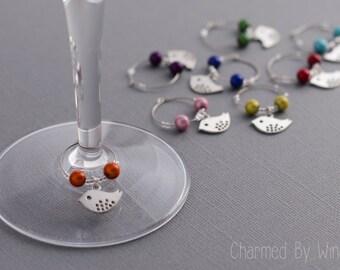 "Silver Bird Wine Charms ""Rainbow Birds"" (Set of 8)"